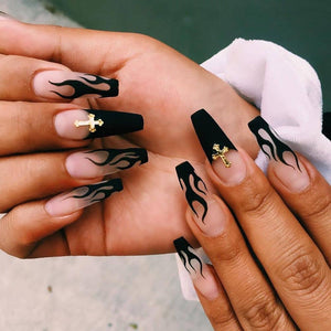 Black flame Fake Nails