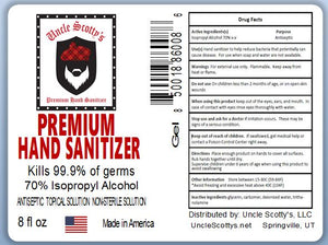 8 oz Bottle 70% Isopropyl Alcohol Hand Sanitizer