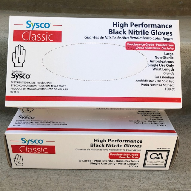 Sysco High Performance Black Nitrile Gloves Pack of 100