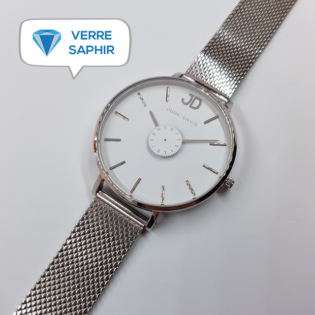L'Audacieuse White & Silver 34mm