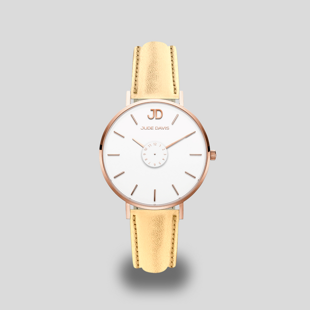 montre mode luxe brillant cuir doré jude davis jd miss rhone alpes