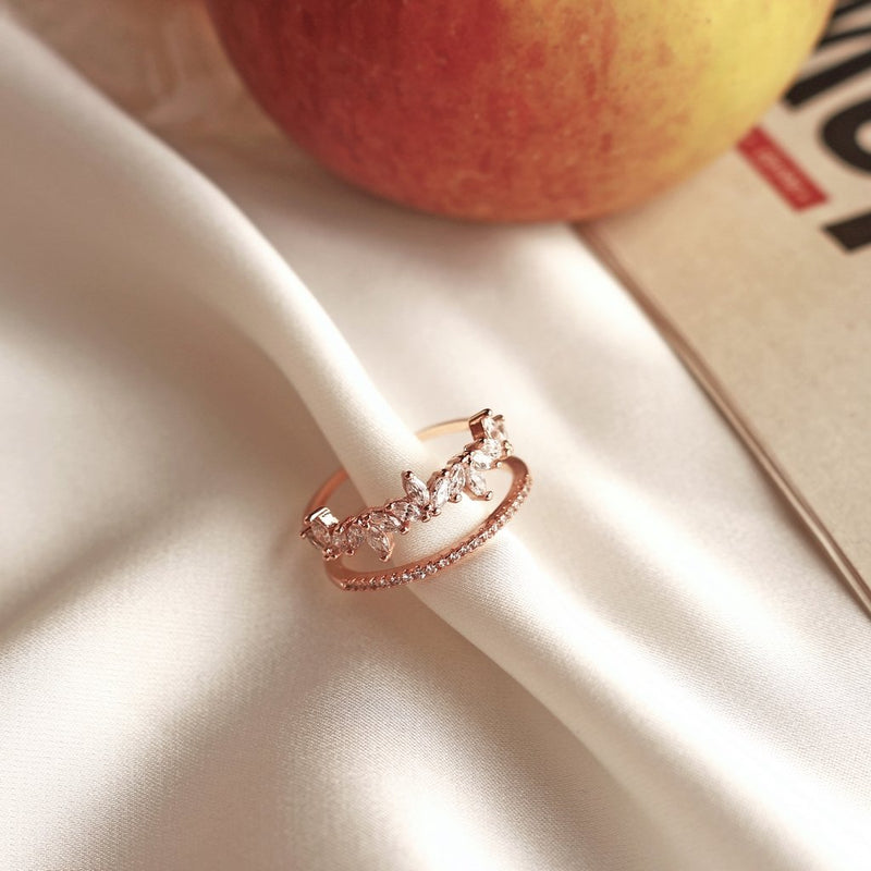 Leafs Layered Ring (Rose Gold)