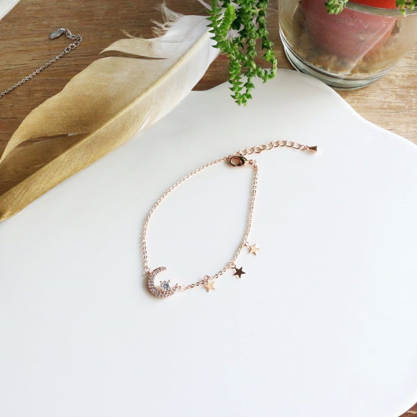 Crescent Moon and Stars Zircon Bracelet (Rose Gold)