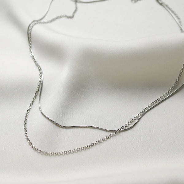 Olivia Layered Necklace (Silver)