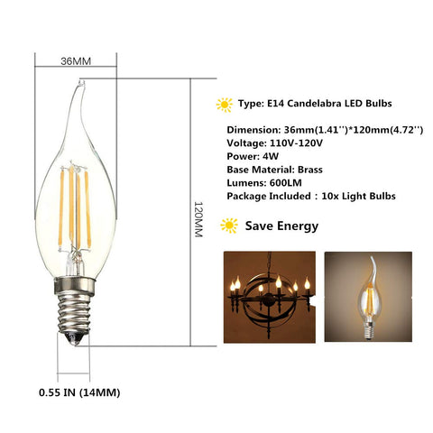 Stello Filament Candle LED Bent Tip Bulb ( E14 BASE/4 Watt )