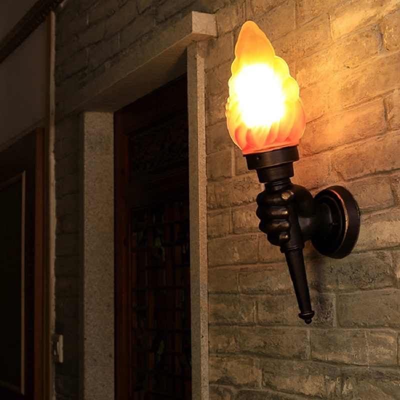 Creative Retro Industrial Torch Hand Wall Lamp