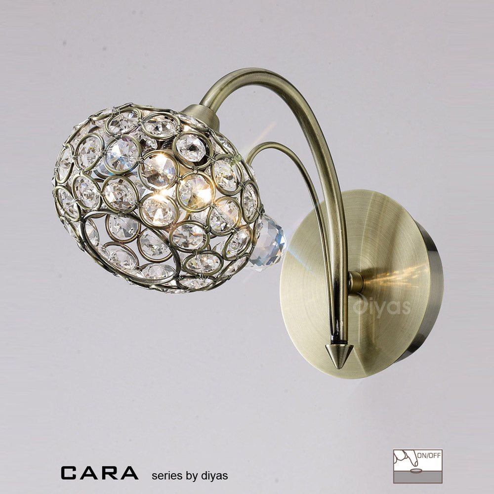 Diyas Cara Wall Lamp Antique Brass/Crystal