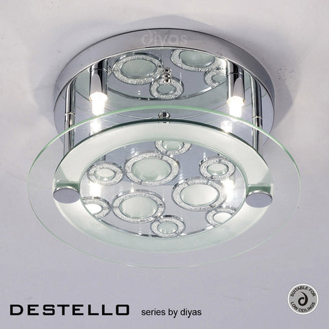 Diyas Destello Four Light Polished Chrome Ceiling Lamp