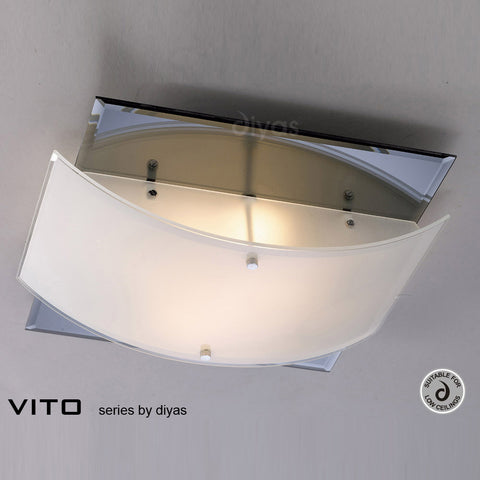 Diyas Vito Two Light Polished Chrome Flush Fitting - Stello Light Studio