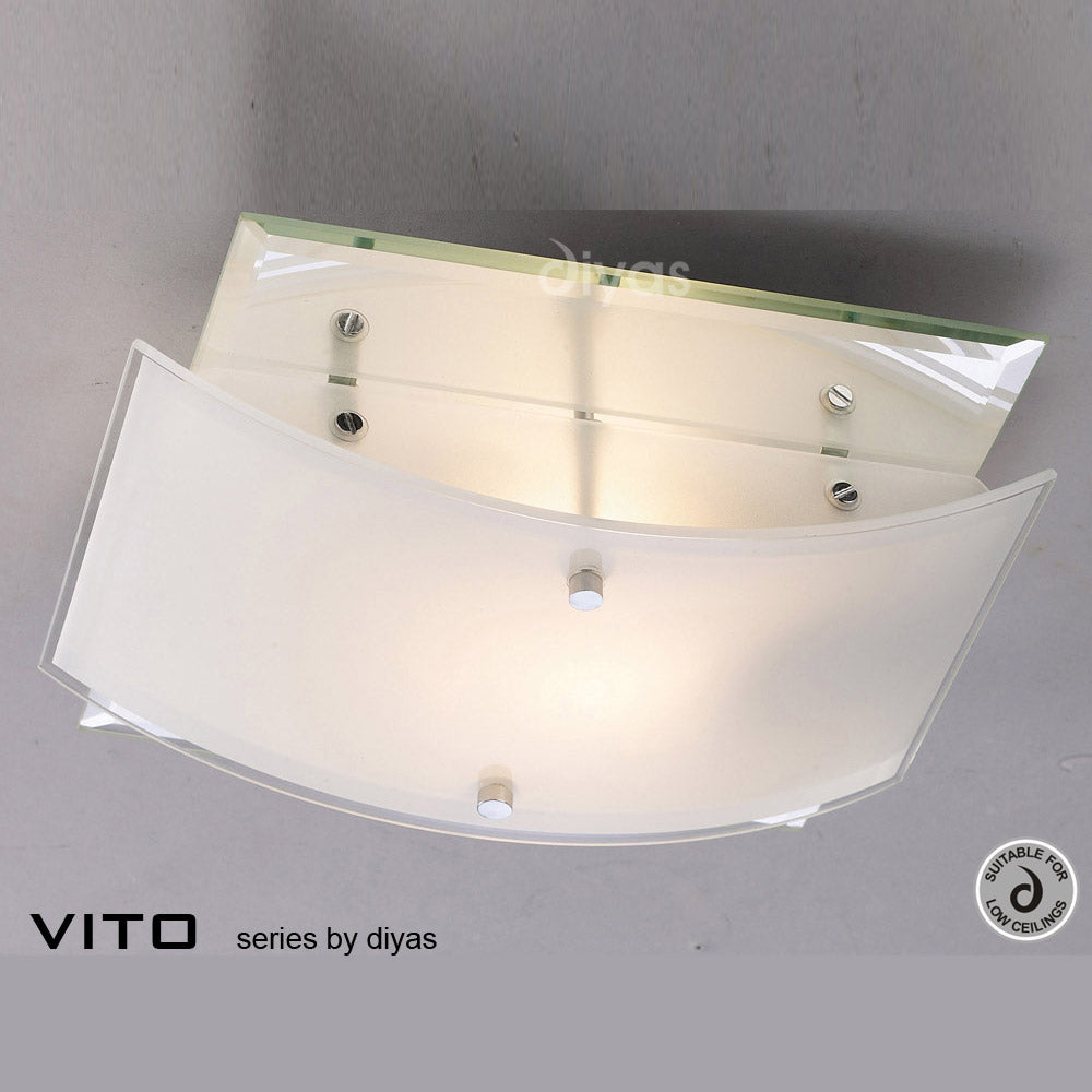 Diyas Vito Two Light Polished Glass Chrome Flush Fitting