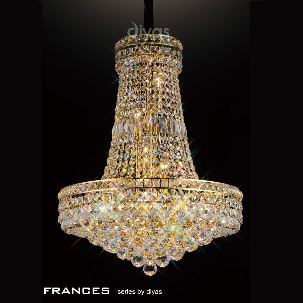 Diyas Frances Crystal Ceiling Pendant in French Gold - 14 Lights