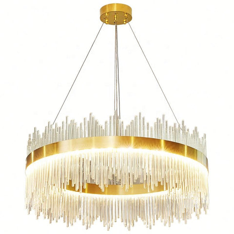 Curva Antique Gold Crystal Chandelier - Stello Light Studio