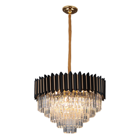 Noche - Black & Gold Crystal Chandelier - 8 Light - Stello Light Studio