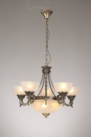 ARENA Antique Gold Chandelier - 8 Lights