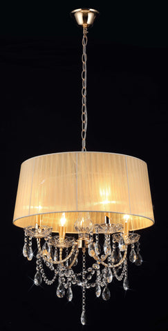 SPARKLER Cream Fabric Chandelier - 4 Lights - Stello Light Studio