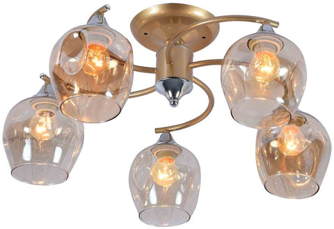Acqua Gold Metal and Glass Chandelier - 5 Lights - Stello Light Studio