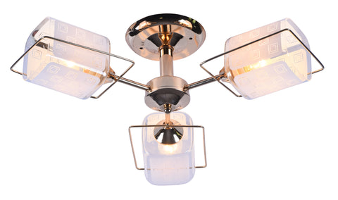 ARENA Gold Metal and Glass Chandelier - 3 Lights - Stello Light Studio