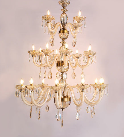 PERLA Crystal Glass Chandelier - Stello Light Studio