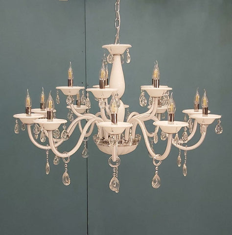 Leche White Glass and Crystal Chandelier - 15 Lights