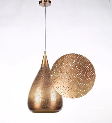 Acorn Antique Gold Metal Hanging Light