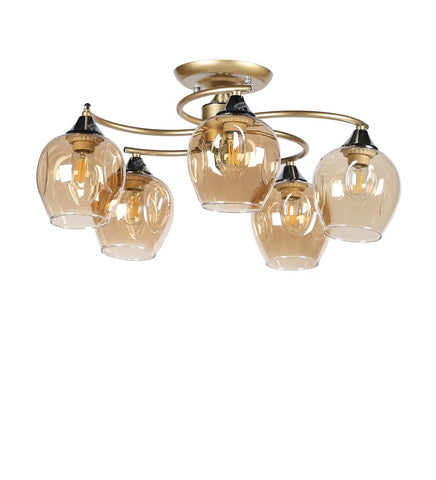 Acqua Gold Metal and Glass Chandelier - 5 Lights