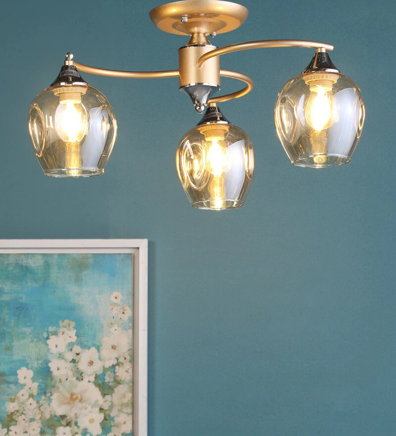 Acqua Gold Metal and Glass Chandelier - 3 Lights