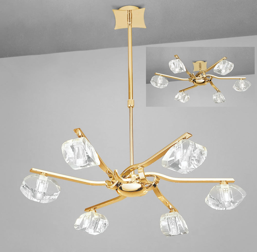 ALFA PENDANT 6 LIGHT ANTIQUE BRASS