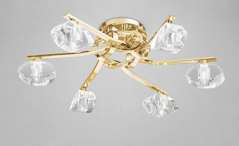 ALFA CEILING 6 LIGHT FRENCH GOLD