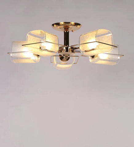 ARENA Gold Metal and Glass Chandelier - 5 Lights