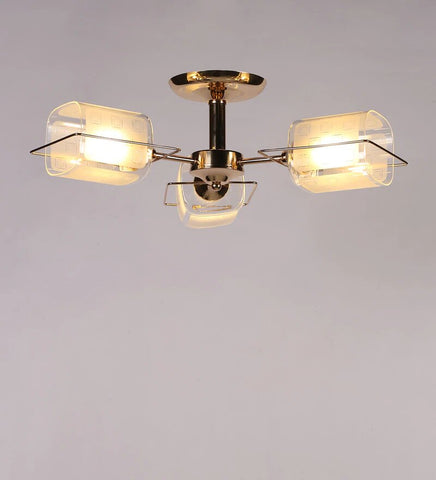 ARENA Gold Metal and Glass Chandelier - 3 Lights