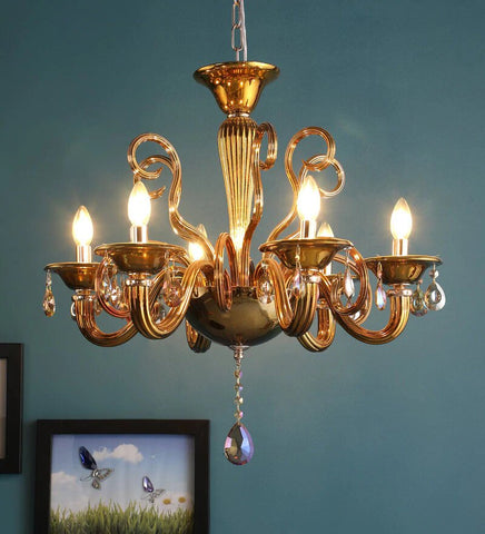 Auric Gold Glass and Crystal Chandelier - 6 Lights - Stello Light Studio
