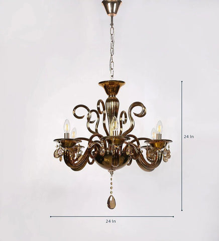 Auric Gold Glass and Crystal Chandelier - 8 Lights