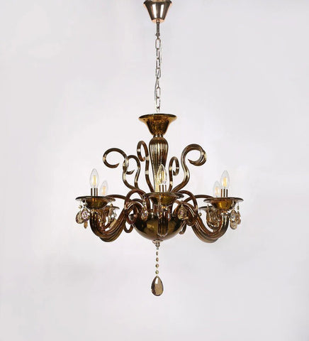 Auric Gold Glass and Crystal Chandelier - 6 Lights