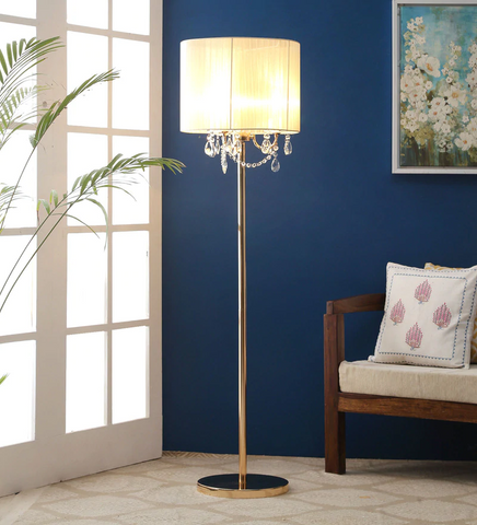 SPARKLER Cream Fabric Floor Lamp- 3 Lights - Stello Light Studio