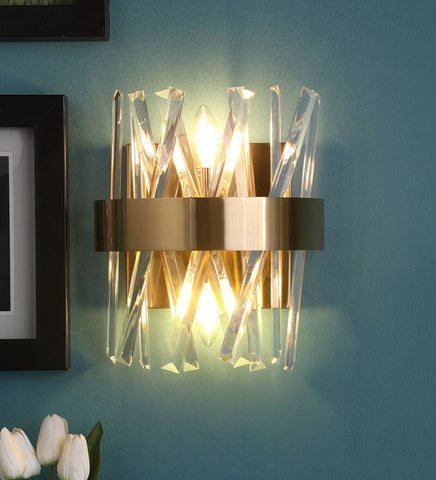 Curva Antique Gold Metal and Crystal Wall Light - Stello Light Studio
