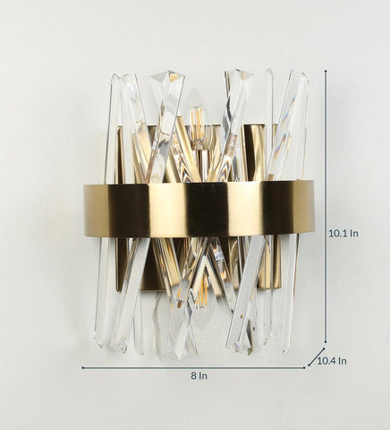 Curva Antique Gold Metal and Crystal Wall Light