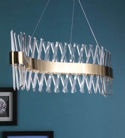 Curva Crystal and Antique Gold Metal Chandelier