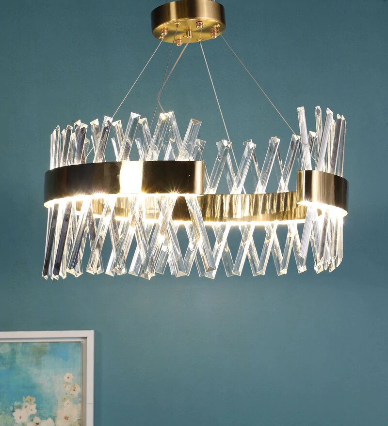 Curva Antique Gold Metal and Crystal Chandelier