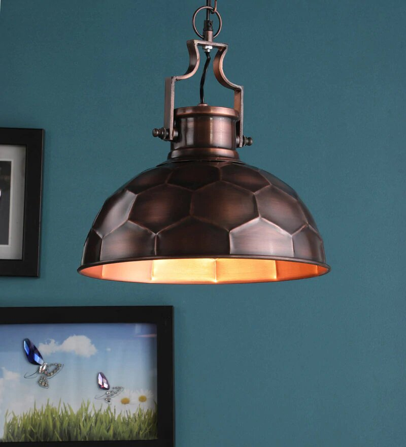 Danish Antique Copper Metal Hanging Light