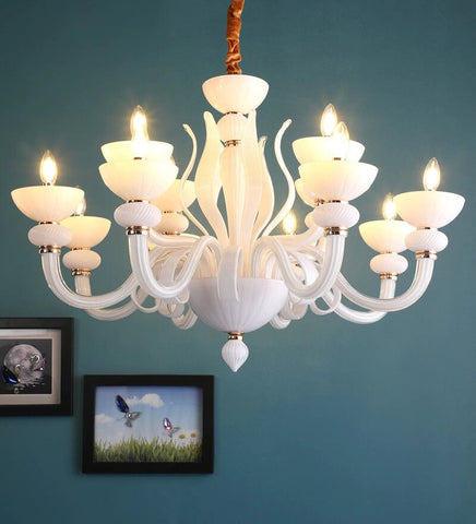Flor White Glass and Metal Chandelier - 12 Lights - Stello Light Studio