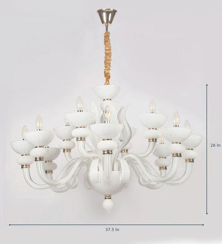 Flor White Glass and Metal Chandelier - 12 Lights