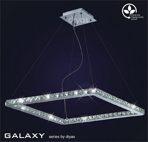 Diyas Galaxy Square Polished Chrome/Crystal - Stello Light Studio