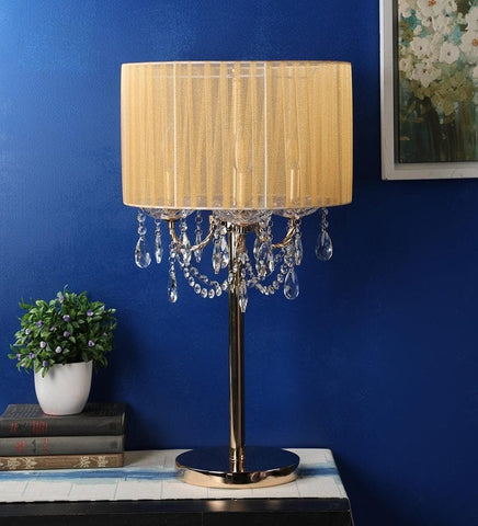 SPARKLER Cream Fabric Table Lamp - 3 Lights