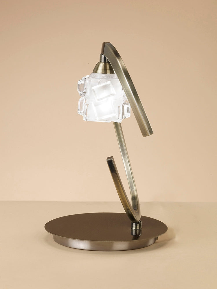 ICE TABLE LAMP 1 LIGHT ANTIQUE BRASS