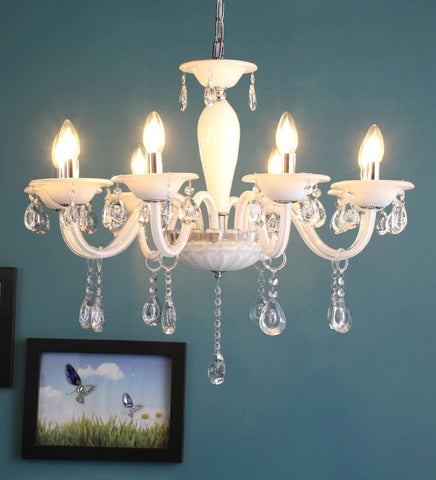 Leche White Glass and Crystal Chandelier - 8 Lights - Stello Light Studio