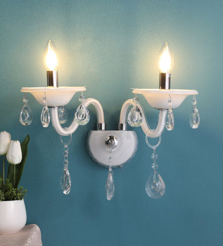 Leche White Glass and Crystal Wall Light - 2 Lights - Stello Light Studio