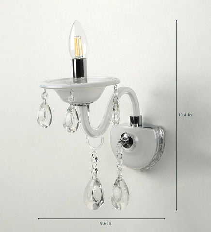 Leche White Glass and Crystal Wall Light