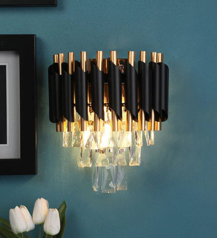 Oscuro Black Metal and Crystal Wall Light - Stello Light Studio