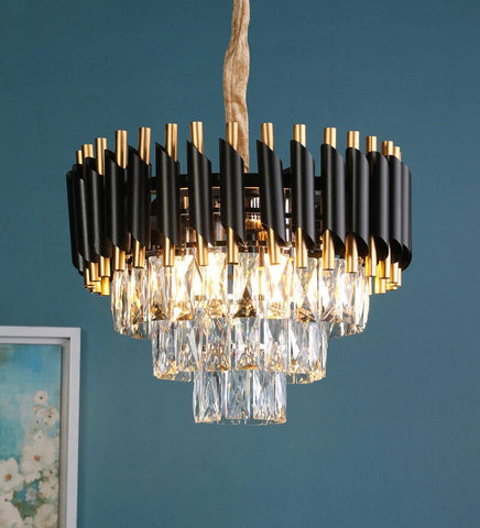 Oscuro Black Metal and Crystal Chandelier - 4 Lights - Stello Light Studio