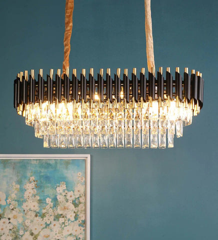 Oscuro Black Metal and Crystal Chandelier - 6 Lights - Stello Light Studio